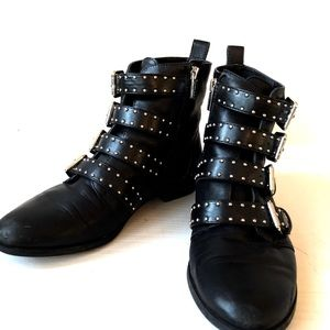Vince Camuto Corvina Leather Studded Buckle Bootie